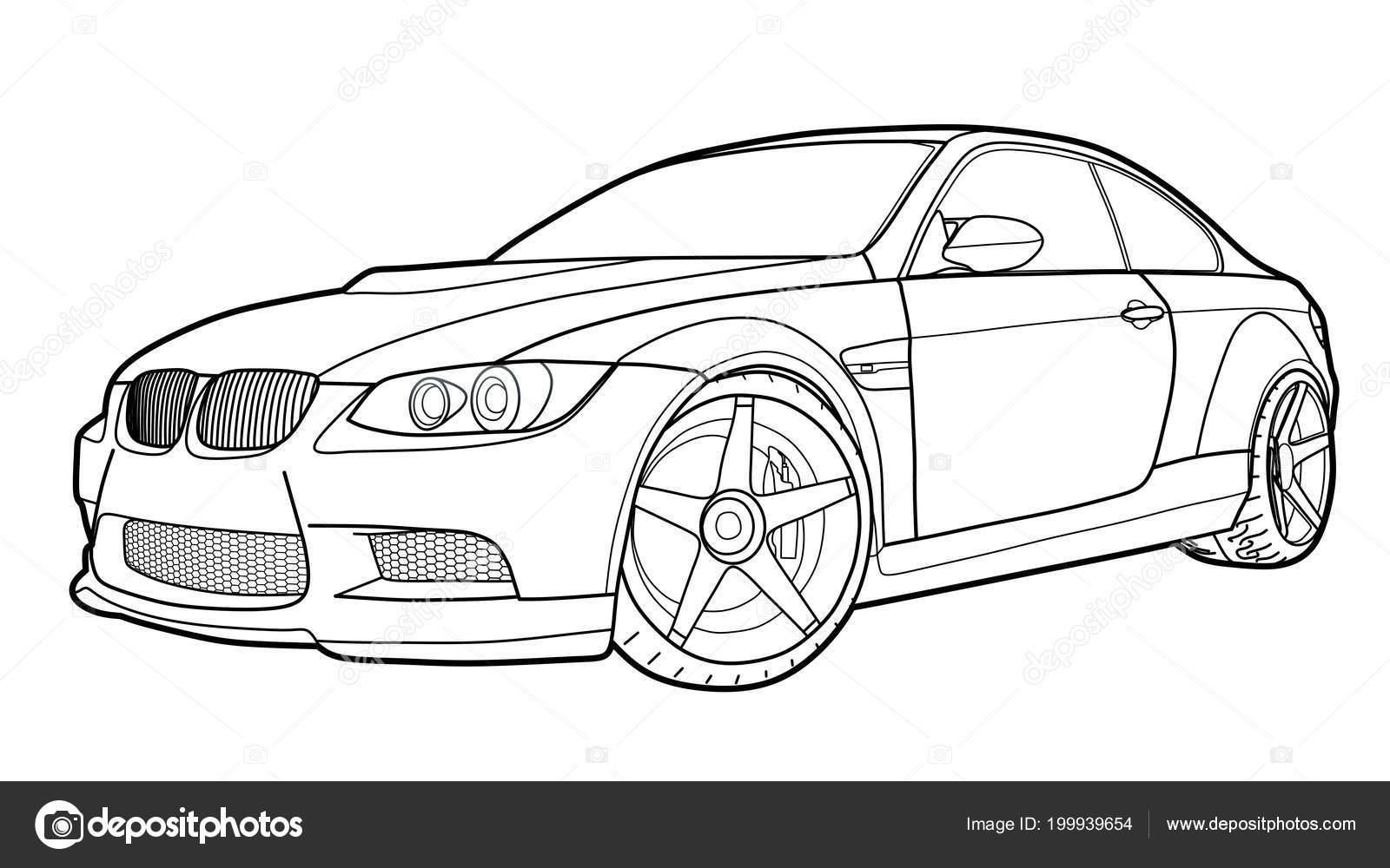 vector tekenen een platte sport auto met zwarte lijnen