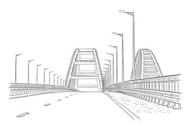 Hand drawn sketch of Crimean bridge