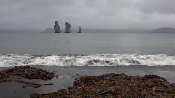 Ohromující krajina poloostrova Kamčatka: krásný výhled na skalnaté ostrovy v moři - tři bratři skály v Tichém oceánu na pláži zamračený den vyrobené z černý sopečný písek a přírodních moře kale hozen na břehu