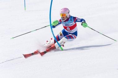 Mount skier Girina Vitalina (Moscow Region) skiing down mount slope. Russian Alpine Skiing Cup, International Ski Federation Championship, slalom