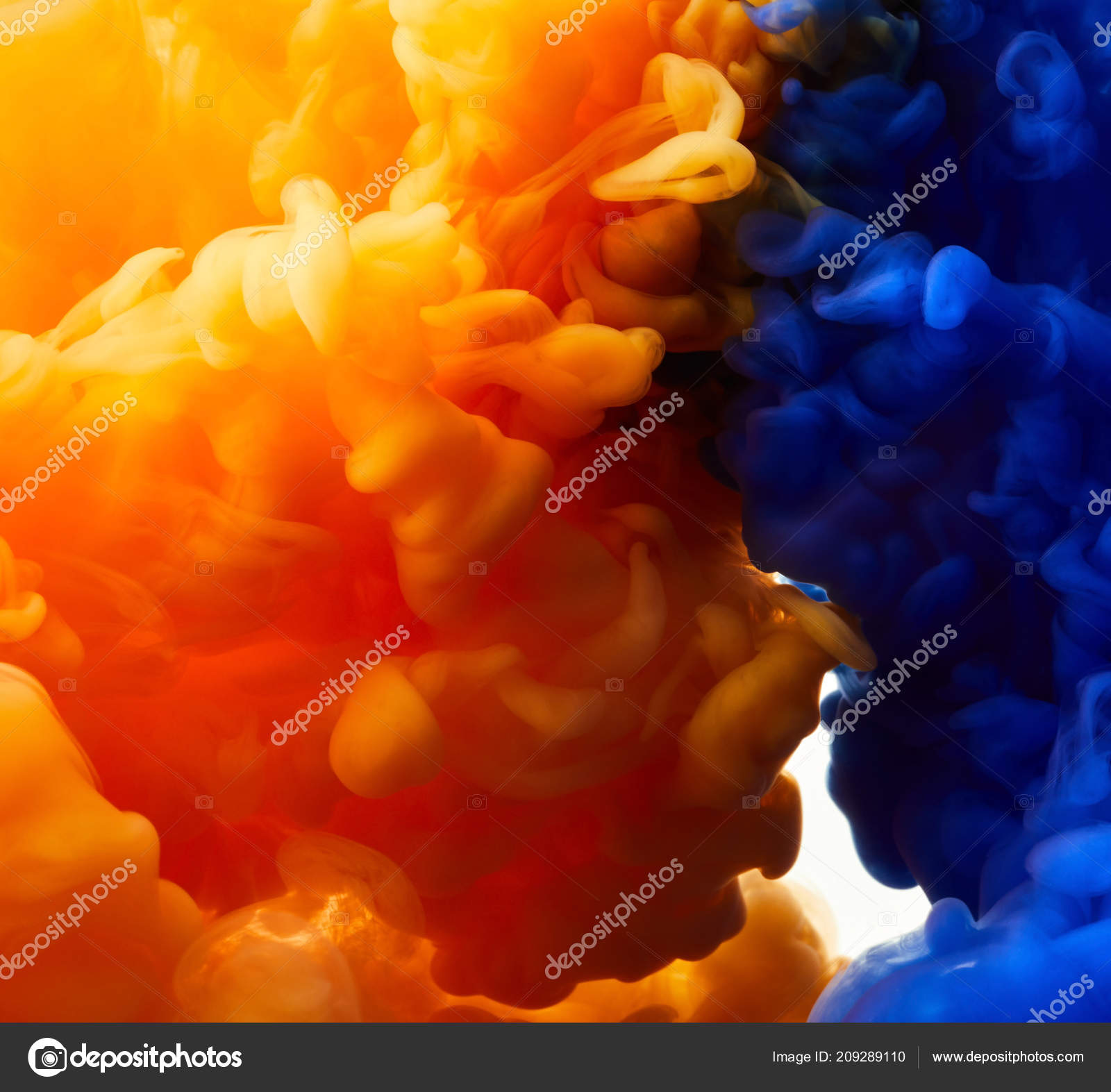 Orange Dark Blue Color Drops Water Abstract Background