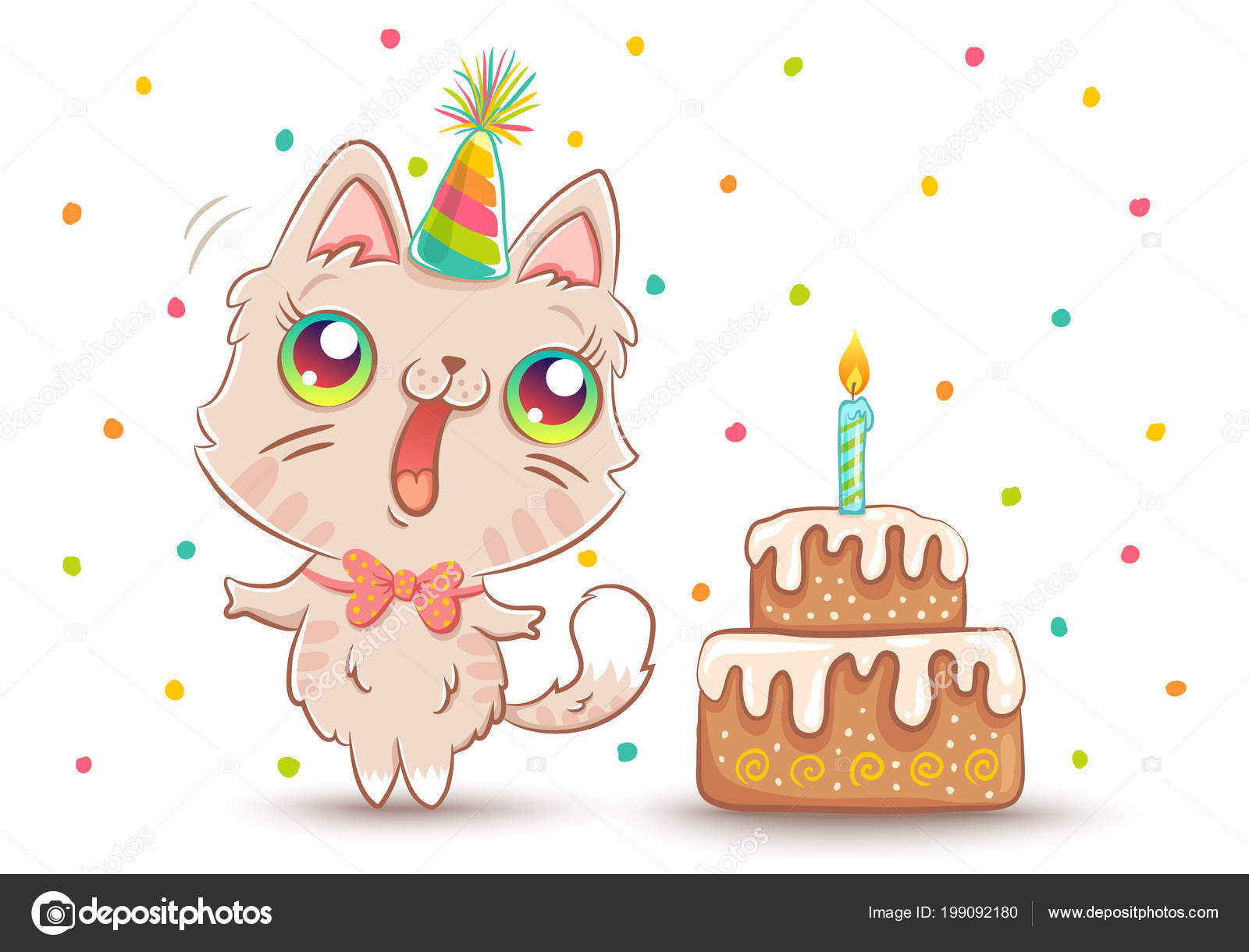 Vector Cute Cat With Birthday Cake In Kawaii Style Happy White Kitty Hat