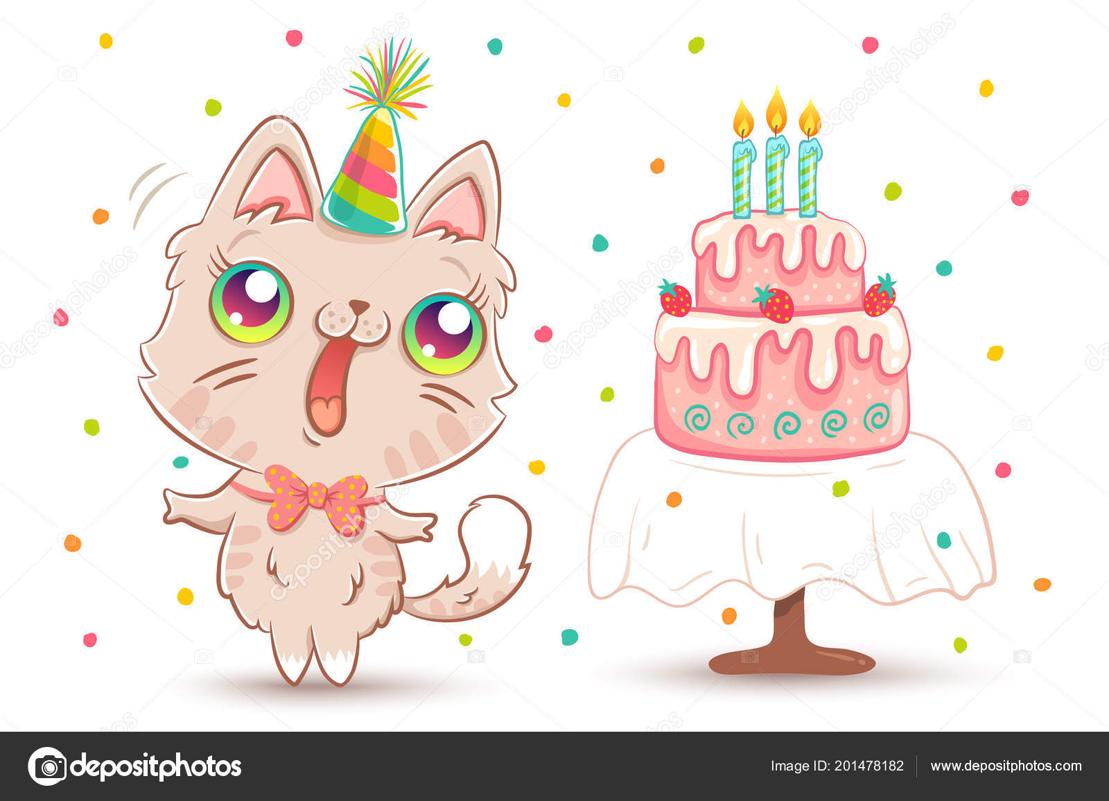 Vector Cute Cat With Strawberry Birthday Cake In Kawaii Style Happy White Kitty Hat