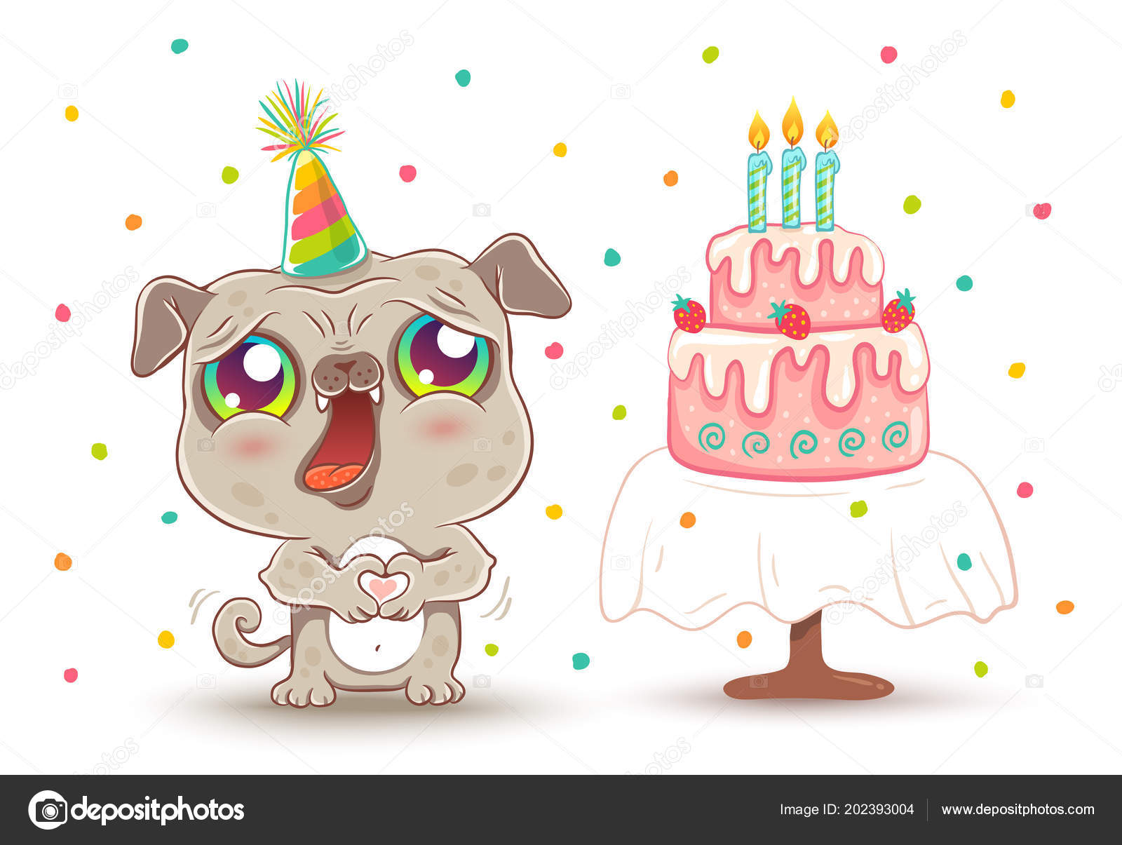 Vector cute pug with strawberry Birthday cake in kawaii style. Happy  birthday! Cute dog in birthday hat. - fotos  pug kawaii — Vector de  serazetdinov ... 3c8dc6a8328