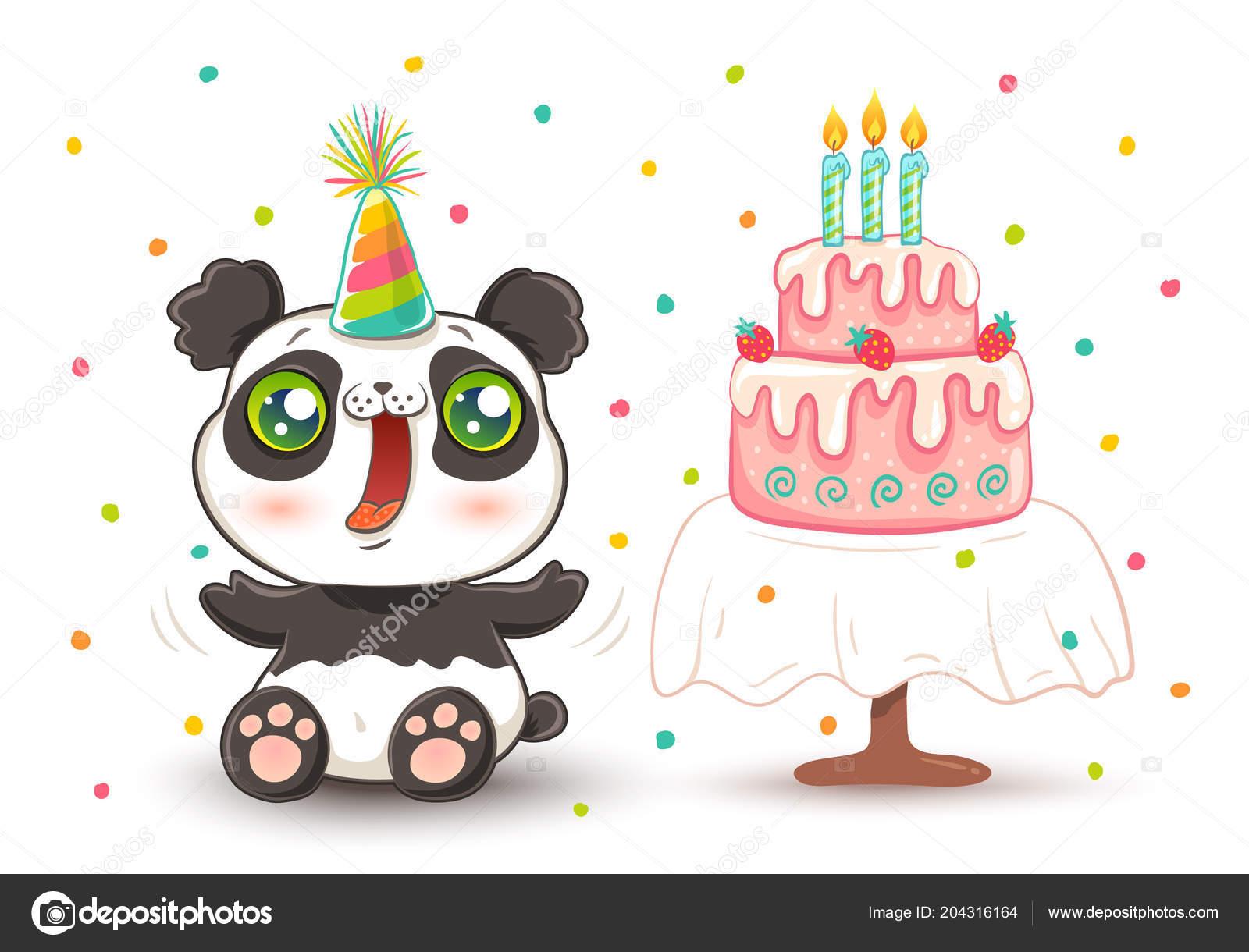 Vector Cute Panda With Strawberry Birthday Cake In Kawaii Style Happy Hat By Serazetdinov