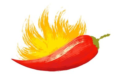 Vintage vector chili pepper with fire in watercolor style. Watercolor red chilli pepper with flame.