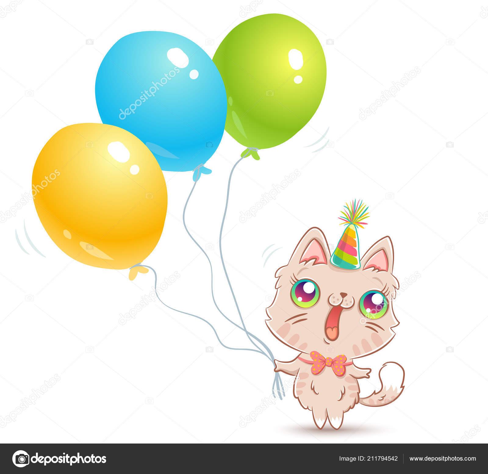 Gato Lindo Del Vector Con Globos Estilo Kawaii Feliz Cumpleaños — Archivo  Imágenes Vectoriales f1c348b9b41