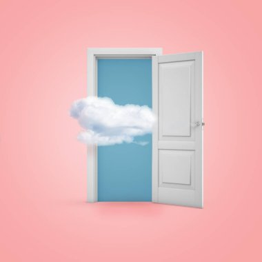 3d rendering of a white open doorway with a cloud on light pink background