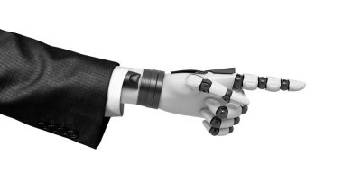 3d close-up rendering of robot hand in suit pointing forward with its index finger isolated on white background.