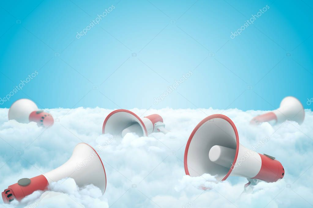 3d rendering of set of megaphones lying on thick layer of white fluffy clouds with blue sky above.