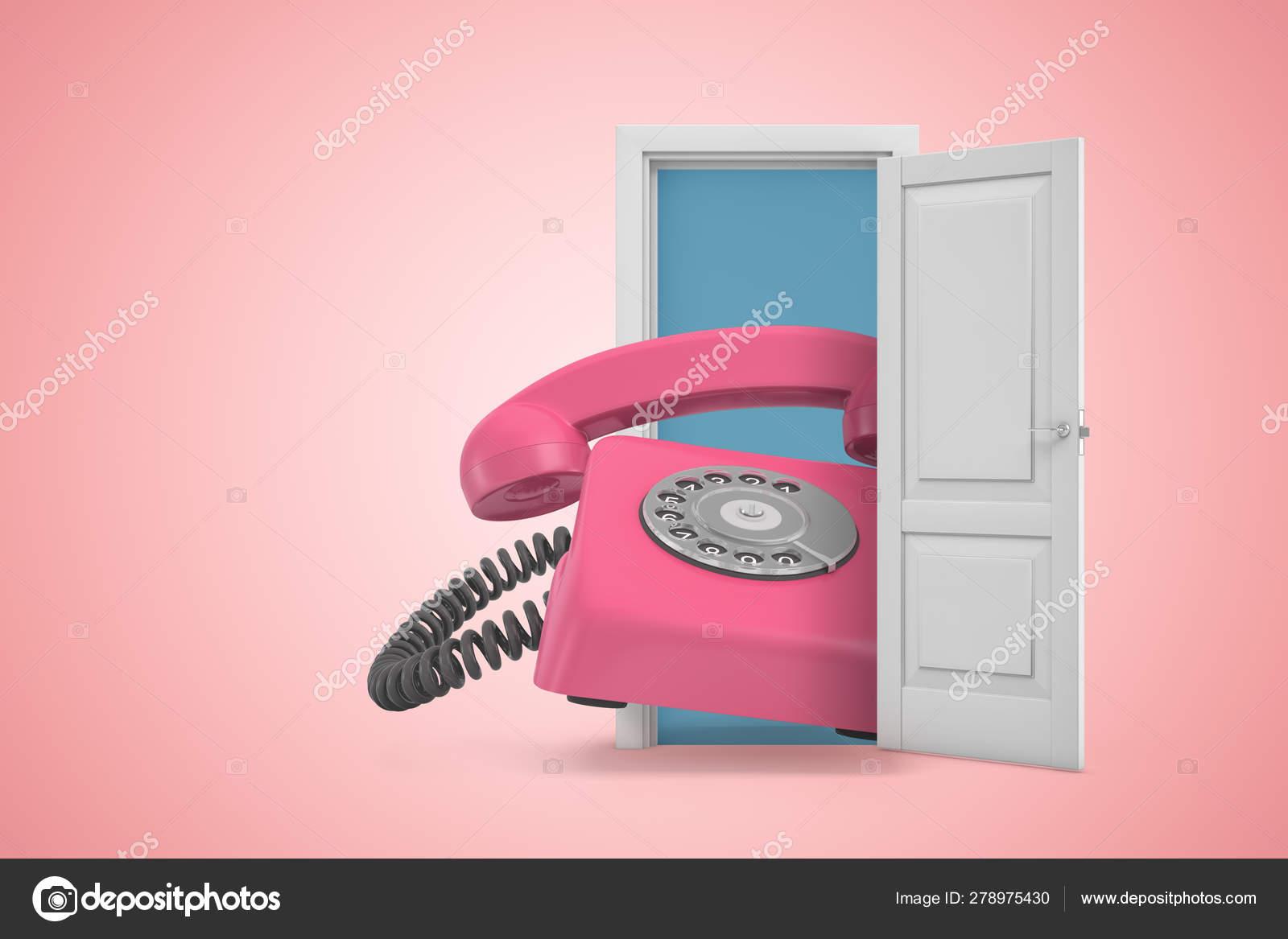 Landline Phone Service >> 3d Rendering Of Huge Pink Retro Landline Phone Emerging From