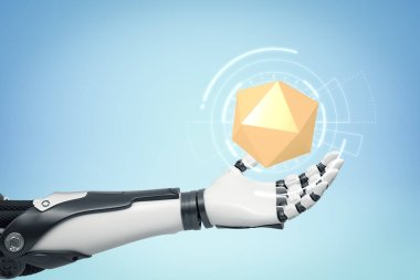 3d close-up rendering of black and white android levitating a yellow icosahedron on light blue background.