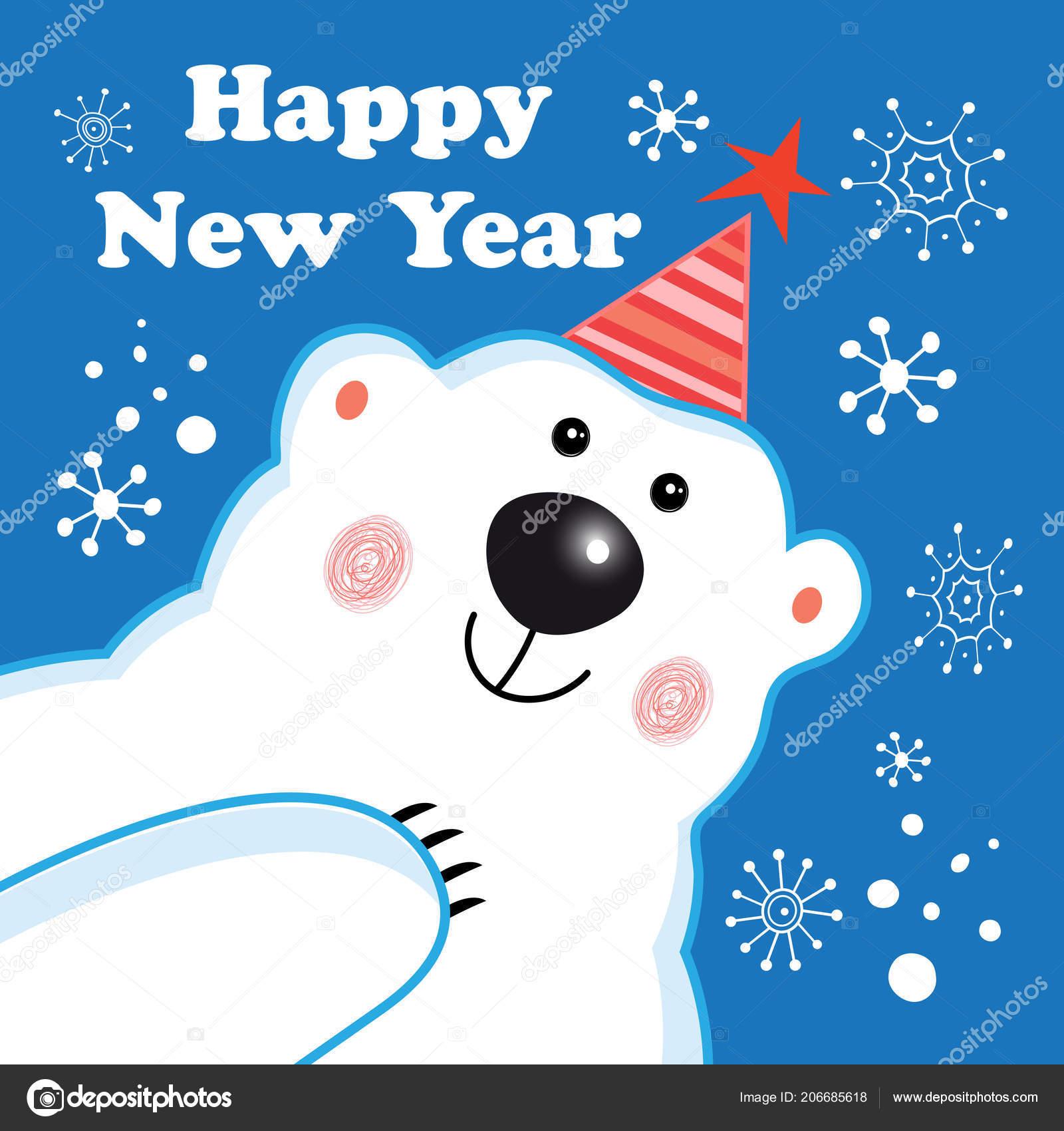 Greeting New Year Greeting Card Polar Bear Blue Background ...