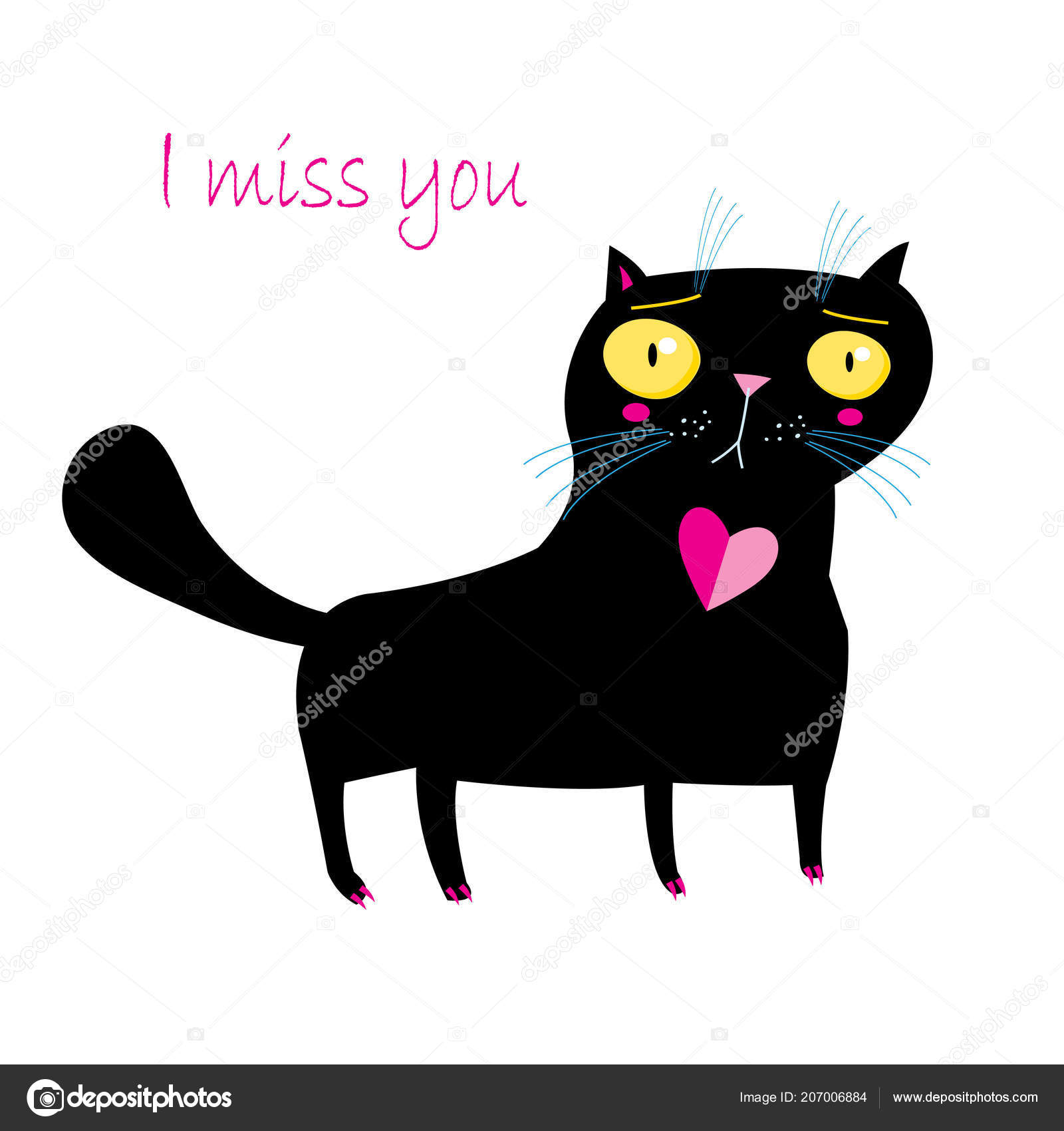 Vector Funny Cat White Background Example Design Greeting Cards