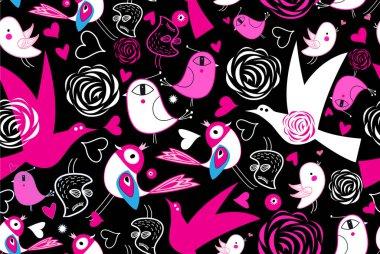 """Картина, постер, плакат, фотообои """"бесшовный яркий узор с любовью птиц на темном фоне на день святого валентина. шаблон для обоев или ткани . постеры"""", артикул 381919568"""