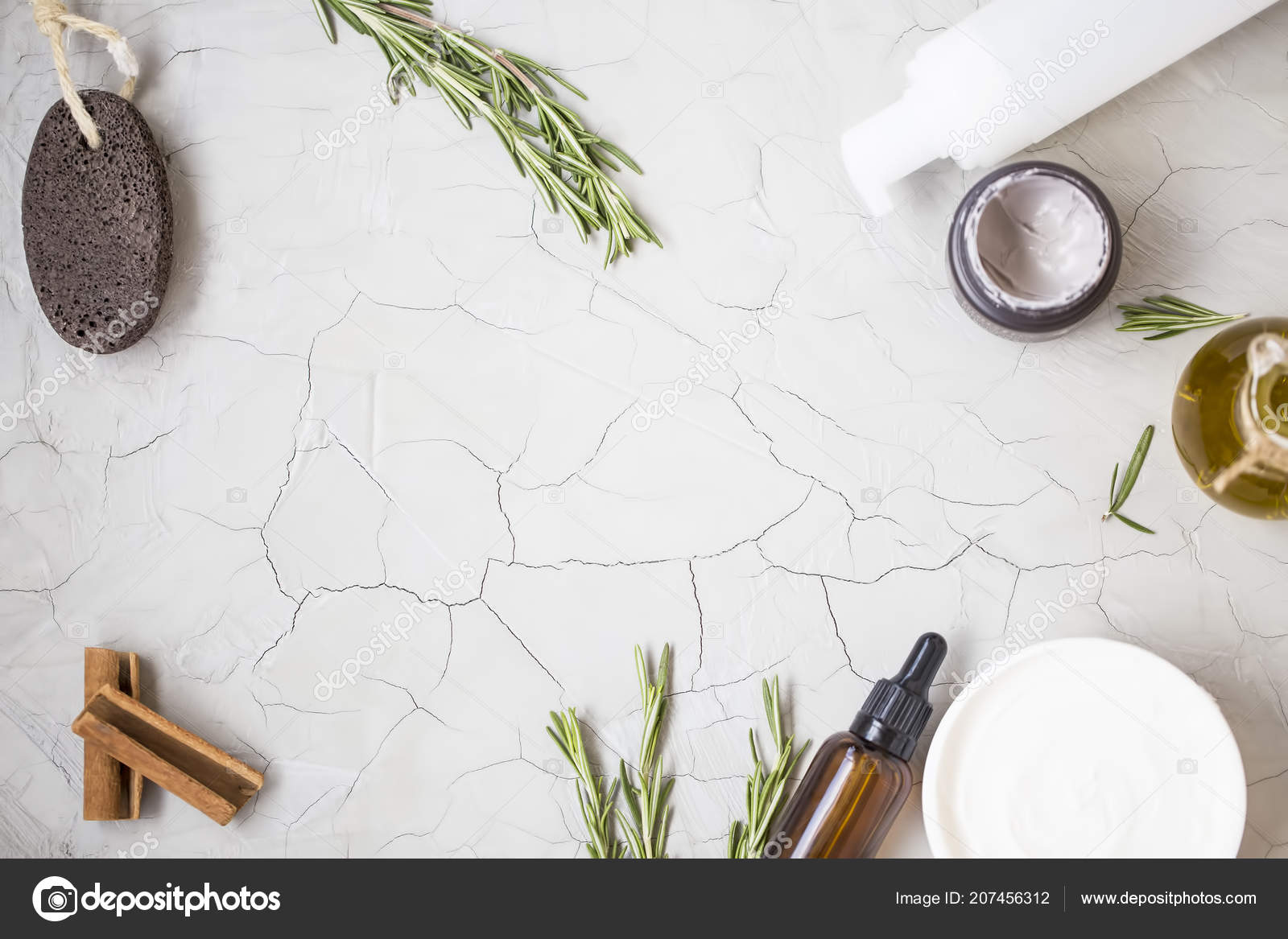 Organic Skincare Products Flatlay Oil Bottle Pumice Olive Oil Tonic Stock Photo C Marrakeshh 207456312