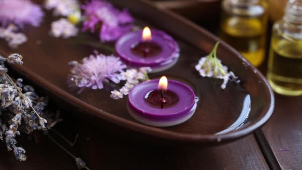 Spa candles burning, spa calm relax tranquil still life concept