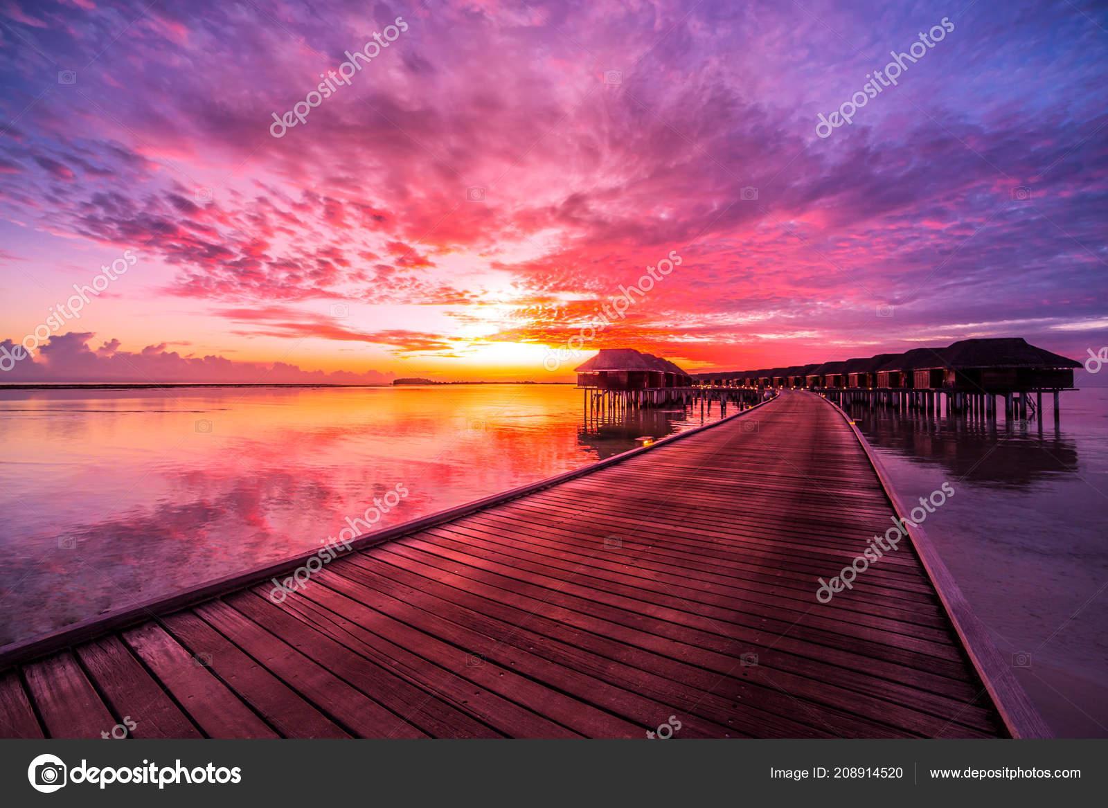 Sunset Maldives Island Luxury Water Villas Resort Wooden Pier