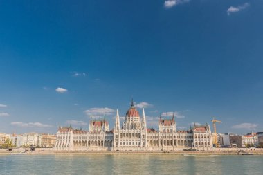 Budapest cityscape with Hungarian parliament building and Danube river, Hungary. Building of the Hungarian Parliament Orszaghaz in Budapest, Hungary. The seat of the National Assembly. House built in neo-gothic style