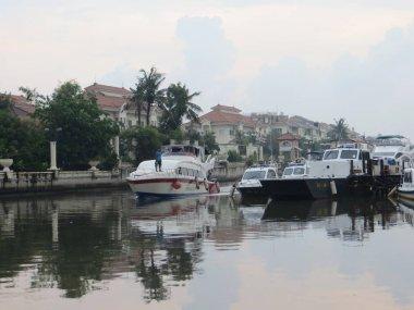 JAKARTA, INDONESIA - March 26, 2017: Speedboats docking at Ancol Marina.