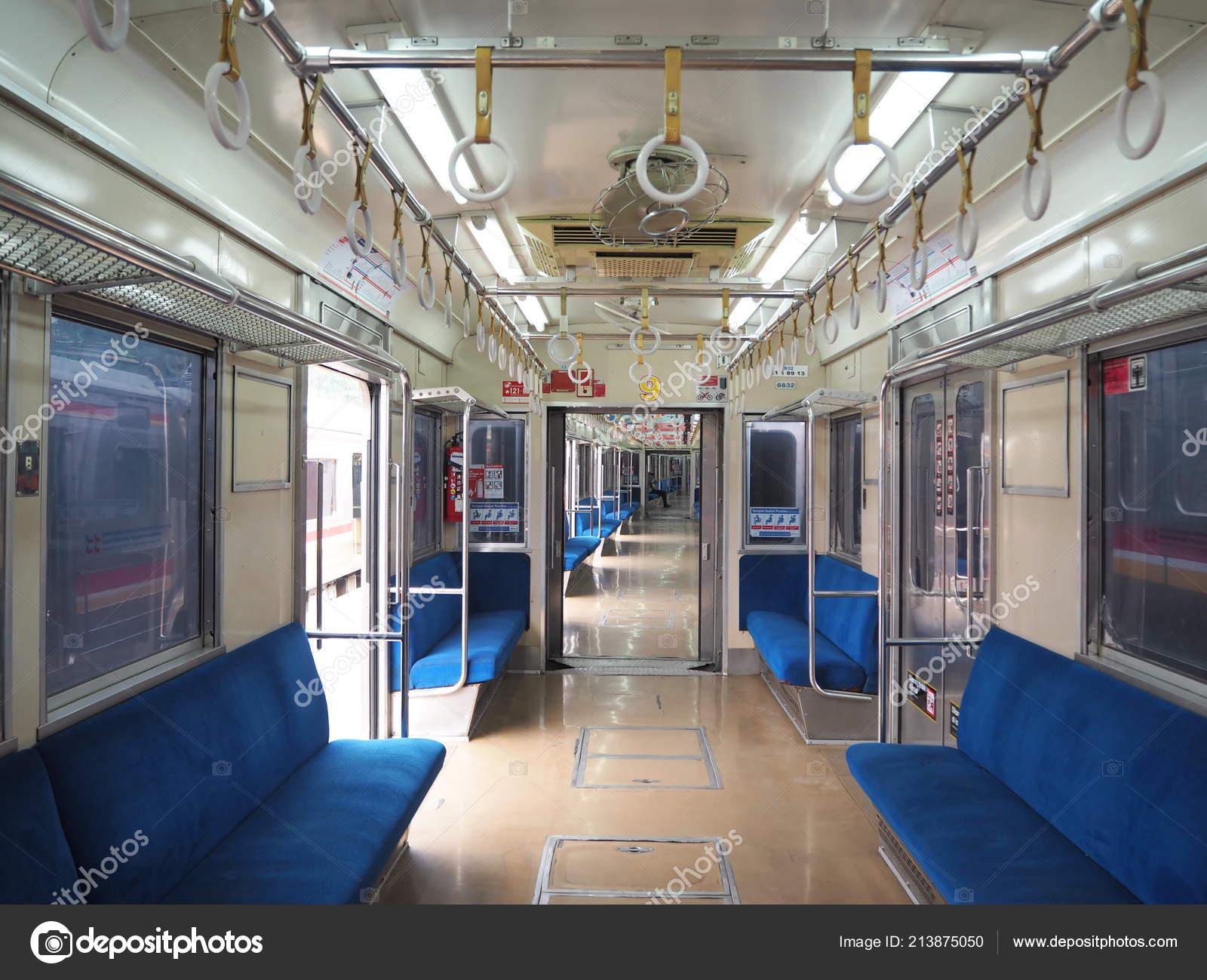 Jakarta Indonesia August 2018 Interior Commuter Line Train Stock