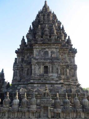 Yogyakarta, Indonesia - October 31, 2018: Relief sculptures on the wall of Prambanan Temple.