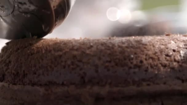 Pastry chef prepare amazing chocolate cake