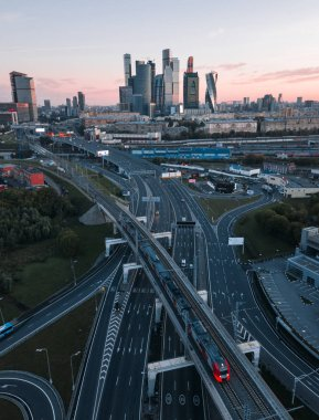 scenic view of transport infrastructure of Moscow, Russia