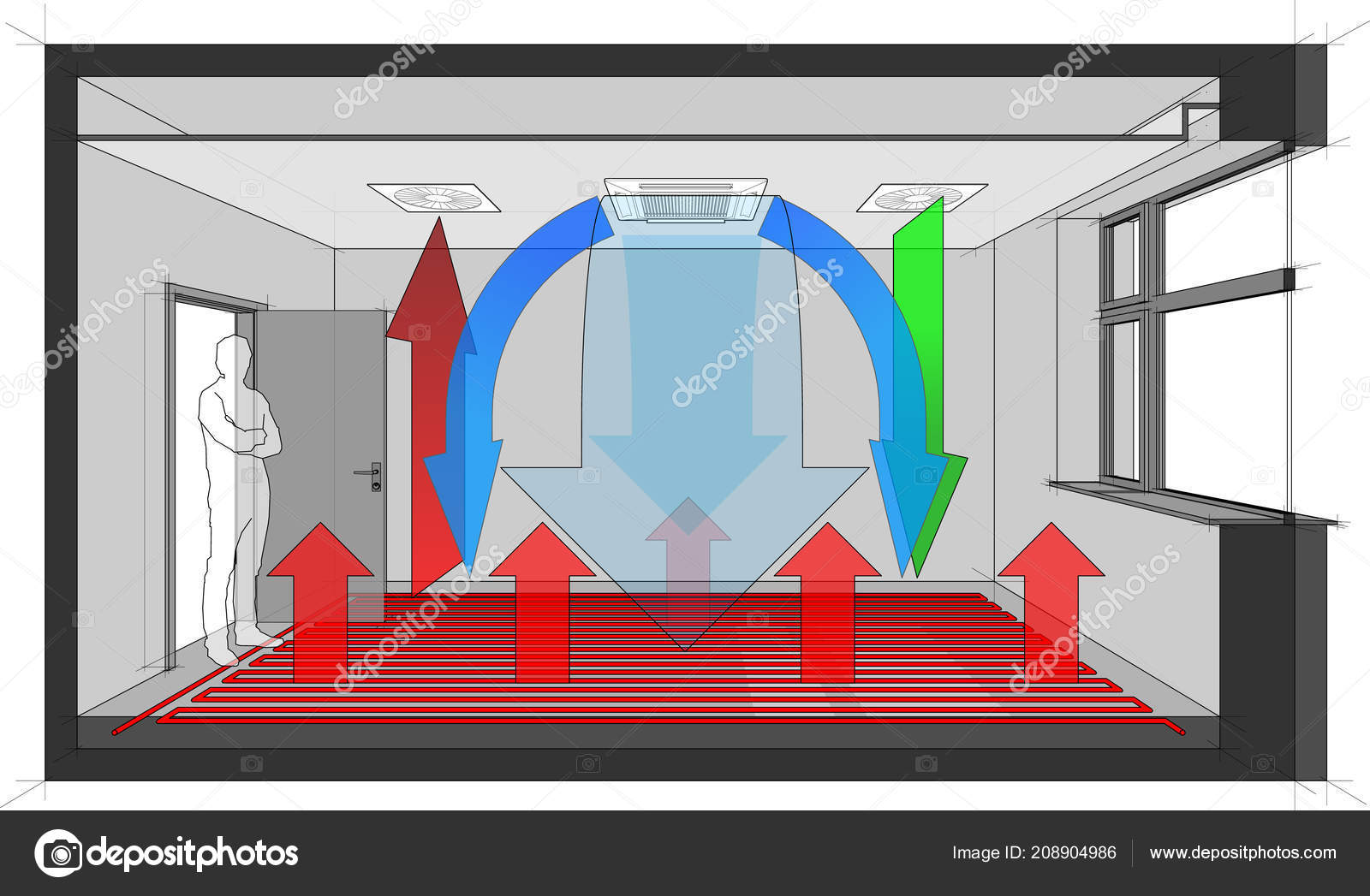 diagram room ventilated cooled ceiling built air ventilation air