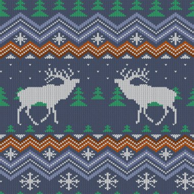 Winter knitted woolen seamless pattern with reindeer and Christmas trees