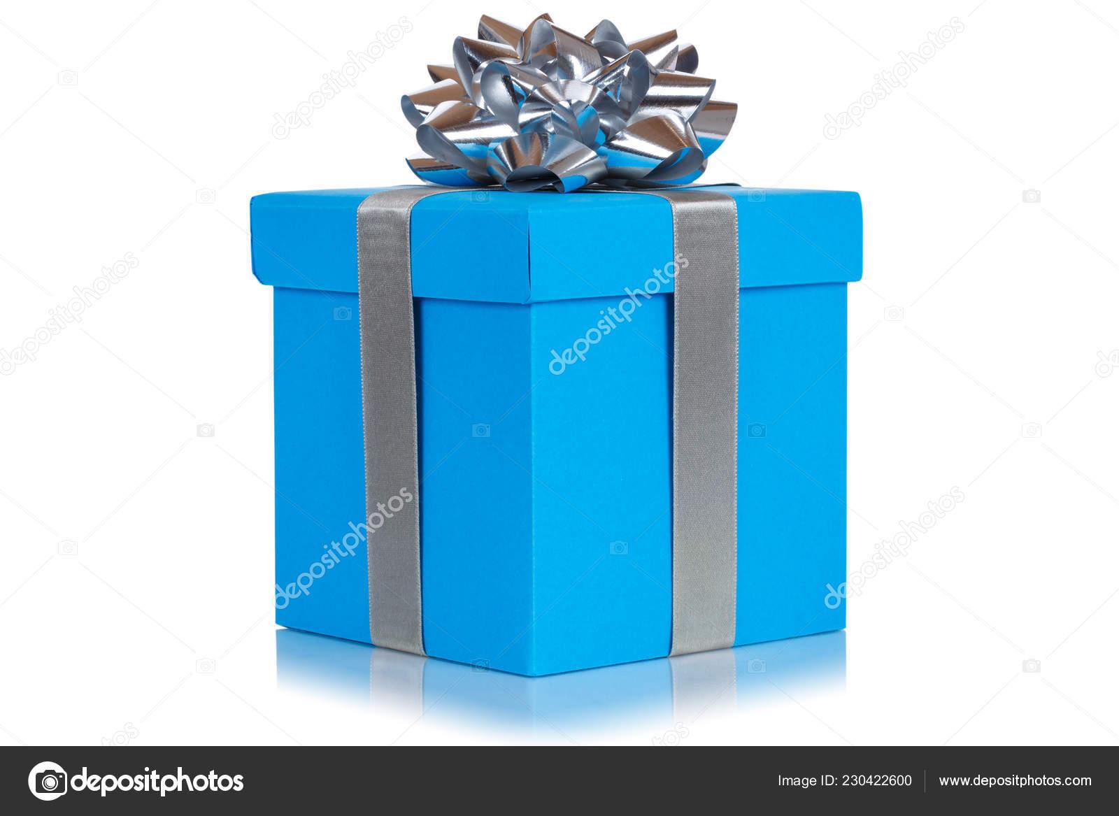 Boite Cadeau Present Noel Anniversaire Mariage Souhait Bleu