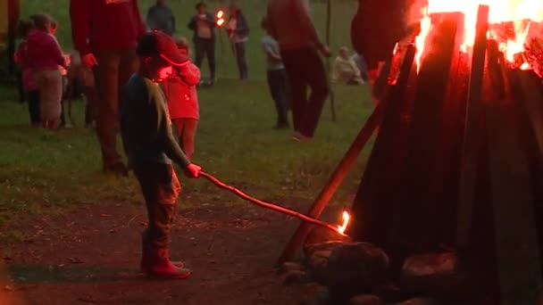Little boy with stick standing in front of big fire