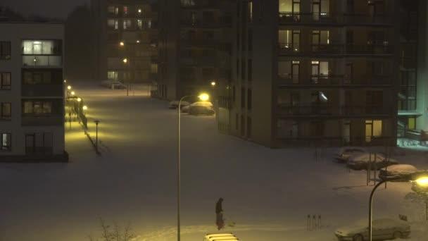 Die Menschen genießen den Winter im Flachhausviertel bei Schneesturm. 4k