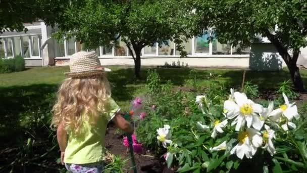 Adorable girl child watering flowers with water sprayer. Gardener kid. Gimbal