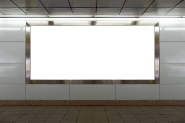 Large blank billboard on a street wall, banners with room to add