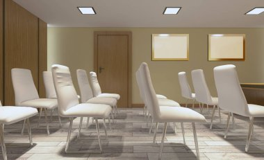 Modern meeting room. 3D rendering.. Blank paintings
