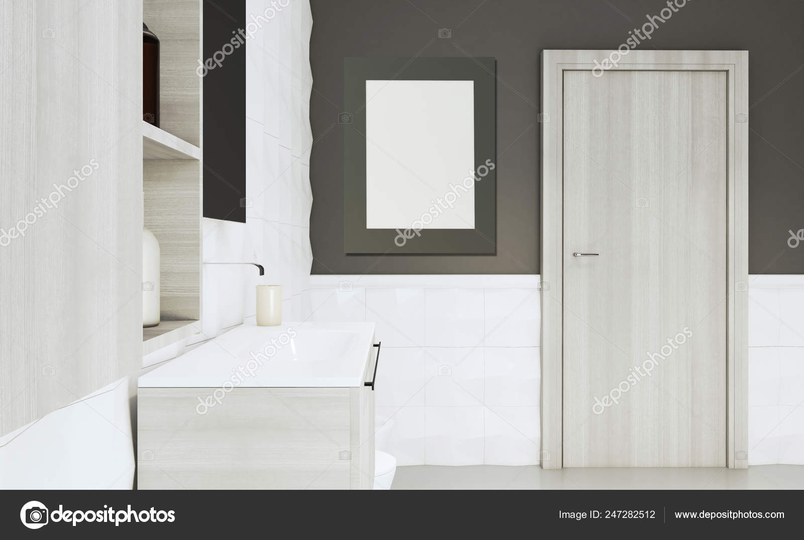 Bathroom Brown Walls White Tiles Gray Furniture Large Interior Door Stock Photo C Kellkinel 247282512,Ikea Malm Twin Bed With Drawers Instructions