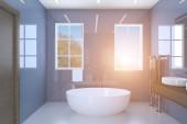 Fotografie Modrá koupelna se dvěma umyvadly a velkými okny. Západ slunce. 3D