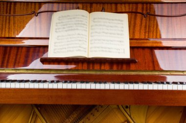 close-up of piano claps and music sheets