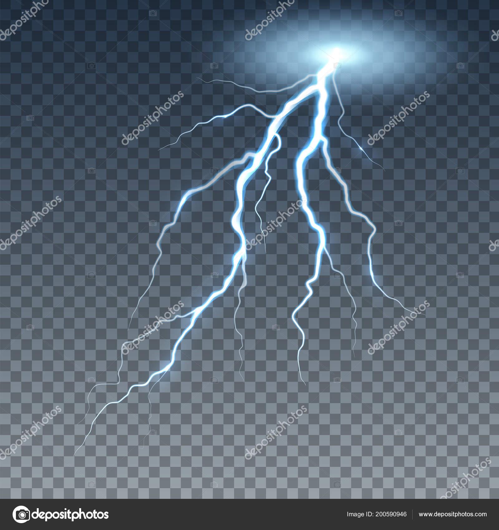 Realistic Lightning And Thunder Bolt Stock Vector