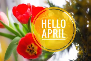 Banner hello april. Hi spring. Hello April. Welcome card We are waiting for the new spring month. The second month of spring.