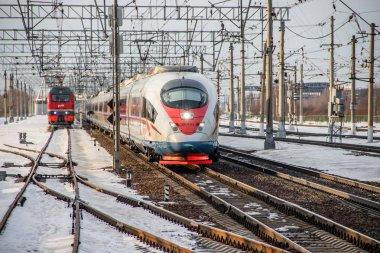 Russian high-speed train. Sapsan train. Russia Metallostroy March 8, 2019