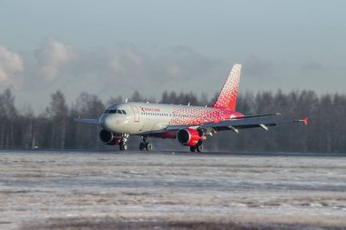 Russian airplane at the airport Pulkovo. November 28, 2018 - Russia St. Petersburg