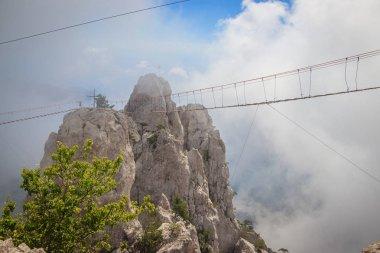 Beautiful mountain landscape with mount Ai-Petri in fog, Crimea