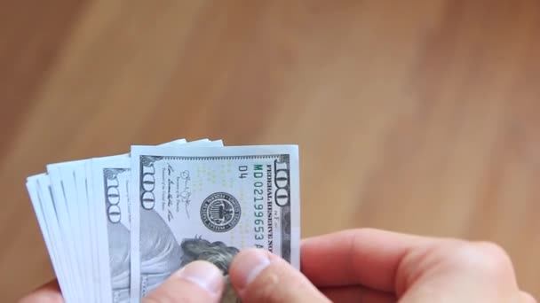 dollars in hands close up