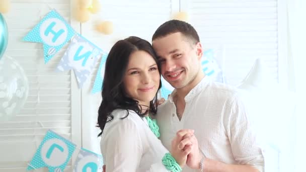 beautiful young married couple at home