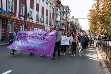 Ukraine, Chernihiv, September 15, 2019: The All-Ukrainian and World March for Animal Rights, Against Fur Farms, for the Creation of Animal Sterilization and Overexposure Centers