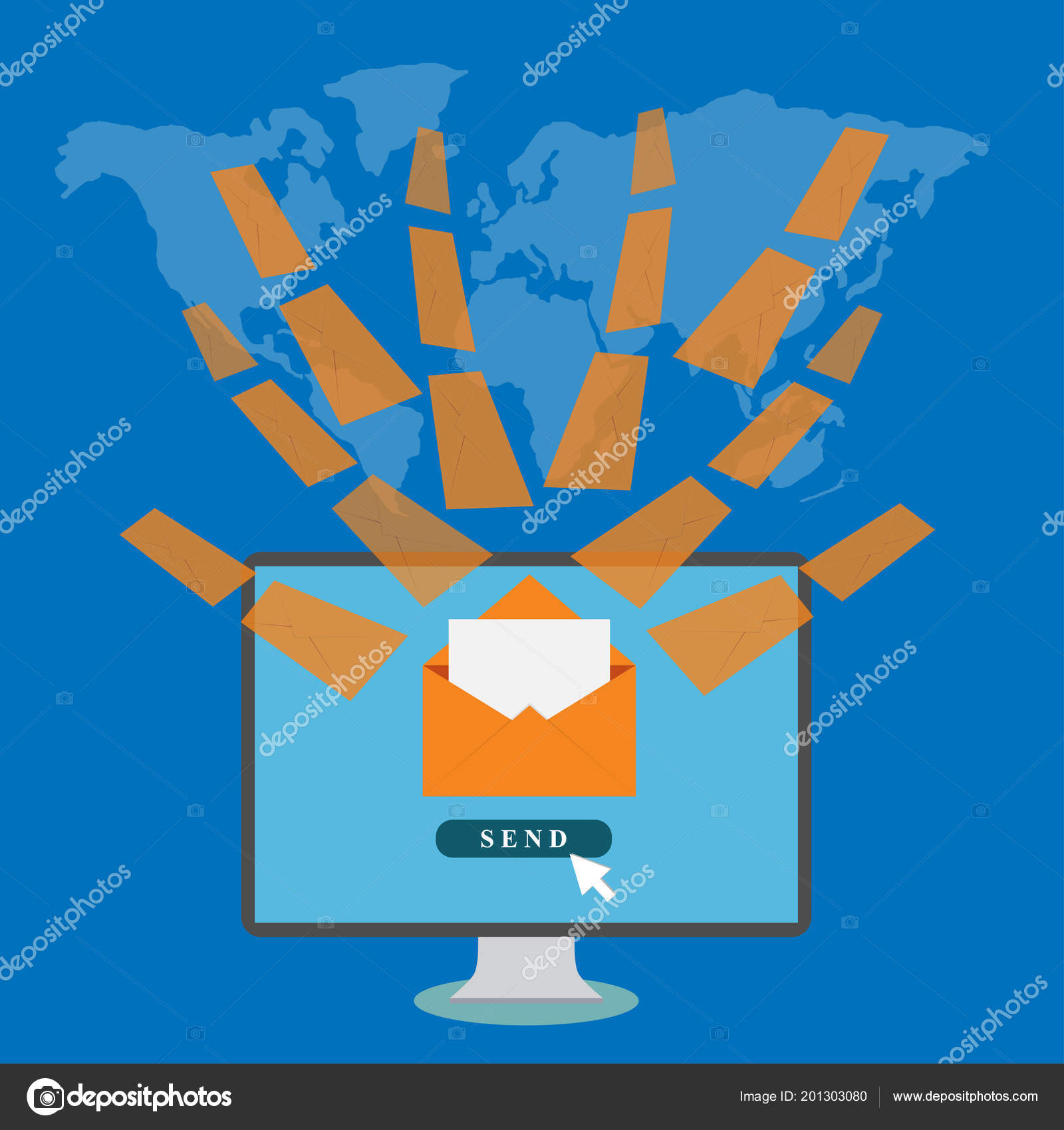 Desktop Envelopes World Map Background Email Concept — Stock Vector on