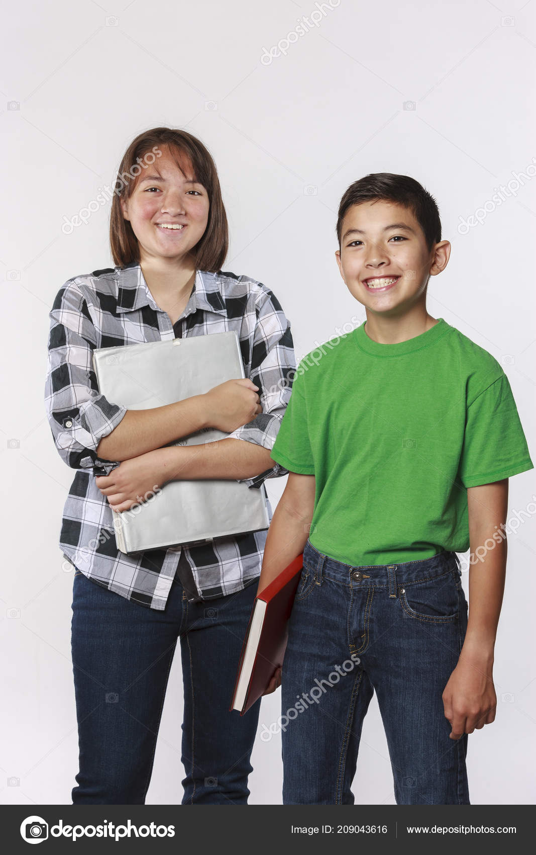 Brother Sister Holding School Books Concept Photo — Stock