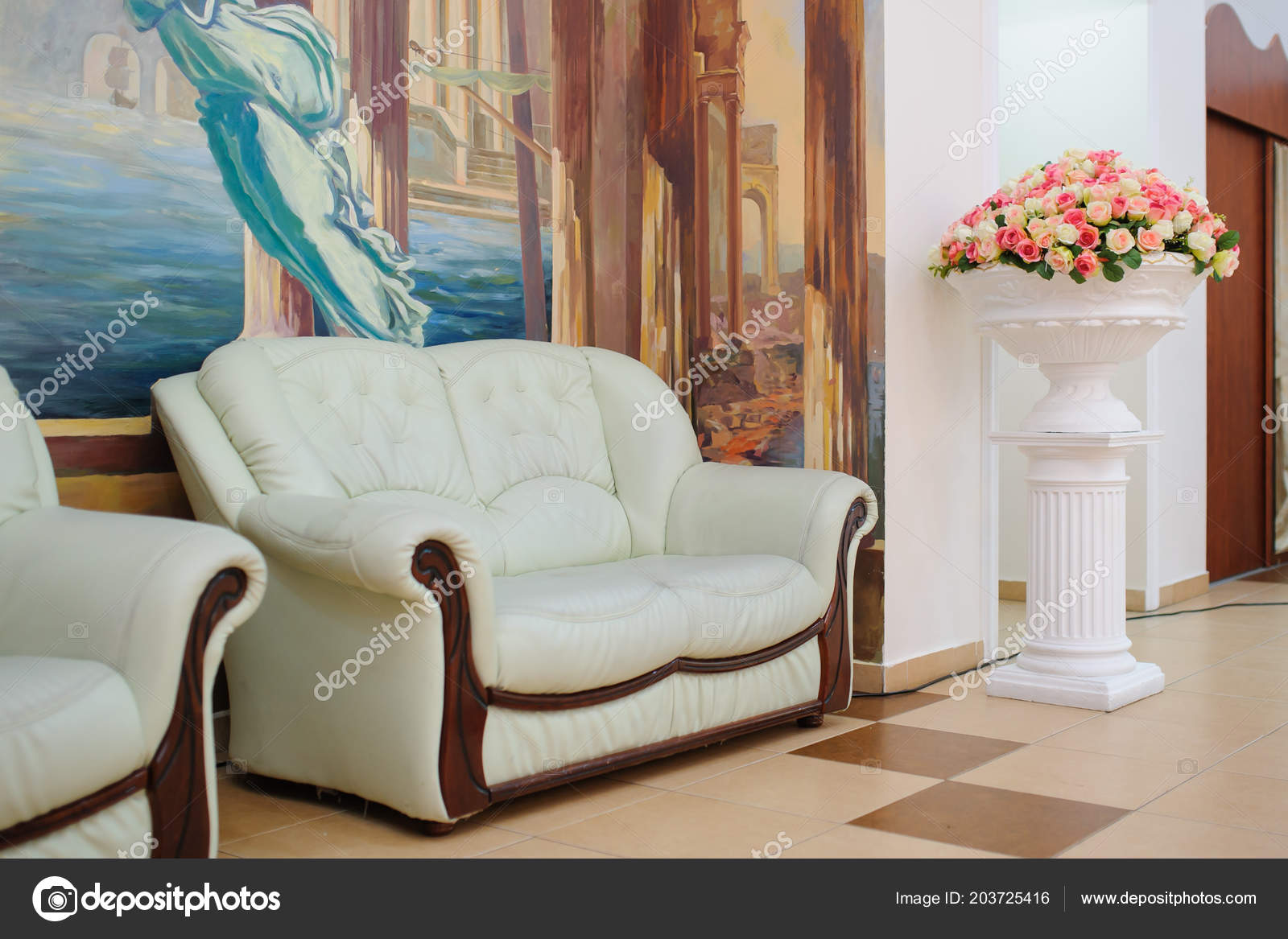 White Sofa Wooden Elements Painted Wall Bowl Flowers Stokovoe Foto